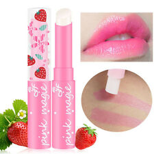Cute Strawberry Lip Balm Stick Magic Temperature Changing Color Moisturizer
