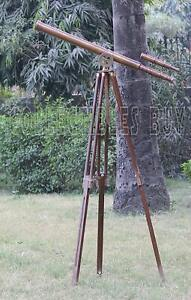 TELESCOPES Marine Maritime 39 Inches Antique Finish Brown Wooden Floor Standing