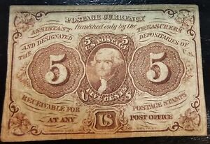 1862 $5 Postage Currency Furnished only by the Treasuries