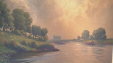 SIGNED HENK DEKKER DUTCH OIL PAINTING LANDSCAPE RIVER WATER BOAT STUNNING!  NR