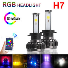 2x H7 Car Auto LED RGB Headlight Kit Phone APP Bluetooth Control Fog Bulbs Lamp