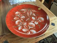 "Vintage Hutschenreuther Large 13"" round platter red base w/ white gold flowers"