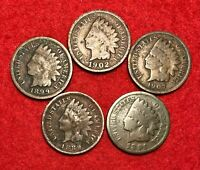 (5) Vintage Indian Head Pennies 1 Cent US Coins Penny Lot 1880 - 1909 Cull to AG