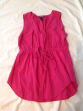 Girls Juniors Feathers Sleeveless Shirt Cotton Hot Pink Large EUC