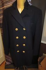 Vintage CHRISTIAN DIOR Sz. 14 Navy Double Breasted Blazer w/ Gold Buttons MINT