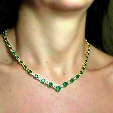 30ct Green Emerald & Sim Diamond Round Womens Tennis Choker Necklaces In Silver