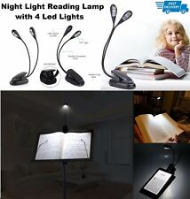 Portable Clip USB Rechargeable 4 LED Book Desk Lamp Light with Music Stand NEW