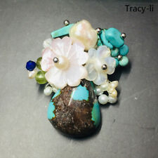 Women crystal freshwater pearl Natural turquoise flower brooch pin Jewelry gift