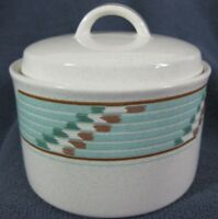 Mikasa Batik CAC44 Sugar Bowl with Lid A Intaglio Turquoise Bands on White
