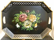 Vintage Nashco Hand Painted Floral Signed Reticulated Toleware Serving Tray Exc