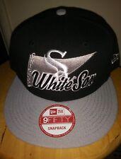 new style 02efe 46307 Chicago White Sox Logo Stacker New Era Cap 9FIFTY Snapback Flat Brim Hat  USA New