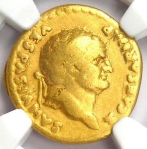 Ancient Roman Empire Titus Gold AV Aureus Coin 79-81 AD - Certified NGC Fine