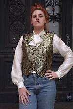 Damen Schluppen Bluse weiß Gold 90er True VINTAGE women's blouse white with gold