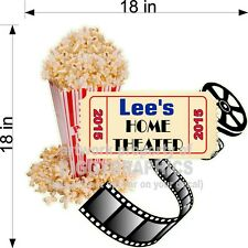 CUSTOM VINYL WALL DECAL HOME THEATER WITH MOVIES REELS POPCORN AND YOUR NAME NEW
