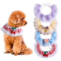 Cat Dog Collar Bow Lace Bibs With Small Bell Puppy Kitten Hollow Out Neckerchief