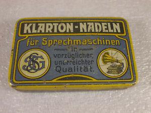 Antike Grammophon Nadeldose KLARTON-NADELN Blechdose Tin