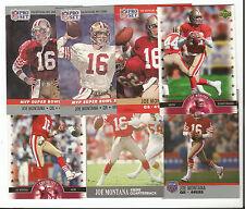 JOE MONTANA Lot of 7 different cards San Francisco 49ers Football NR MT