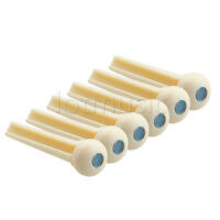6pcs Ivory Acoustic Guitar Bridge Pin W/Abalone Dot Inlay Plastics Slotted