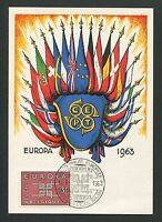 BELGIEN MK 1963 EUROPA CEPT MAXIMUMKARTE CARTE MAXIMUM CARD MC CM d3408