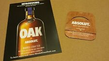 One Absolut Vodka Oak 750ml bottle tag and One recipe card lot.