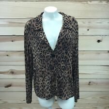 Chicos Travelers Jacket 3 XL Leopard Print One Button Stretch Collar Slinky B83