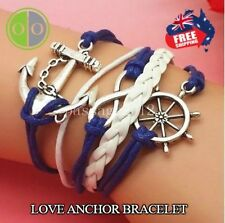 HEART OF CHARMS INFINITY ANCHOR LOVE BRACELET BLUE / WHITE BRAIDED LEATHER