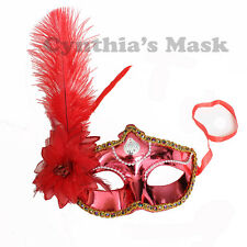 Red Shiny Metallic Venetian Masquerade Mask w/Ostrich Feather Prom Halloween