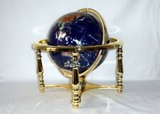 14 BLUE LAPIS GEMSTONE GLOBE With Gold Stand