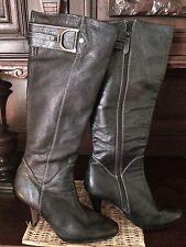 Cole Haan NikeAir Black Leather Sierra Knee High Heels Horse Bit Size 9 1/2 B