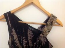 TOPSHOP Draped Silk Dress With Beaded Strap - Size 8