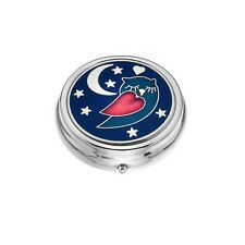 Large Pill Box Silver Plated Sleepy Owl Blue Brand New & Boxed