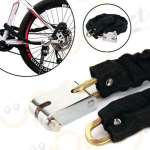 Catena + lucchetto antifurto metallo per scooter moto da bici rivestito 3 chiavi