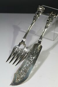 Antique Victorian Sterling silver queens pattern fish servers, GA, 1849,295g AA9
