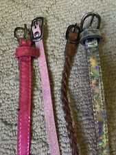 4 Piece Lot Girls Size Small Belts Pink Silver Brown Pre Owned