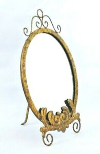 "Makeup Mirror / Vanity Mirror / Metal / Easel Back / 18"" x 11"" / Gold / Oval /"