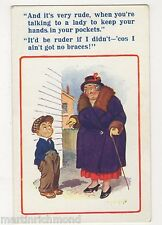 Donald McGill, Hands in Pockets Talking to A Lady Comic Postcard, B565