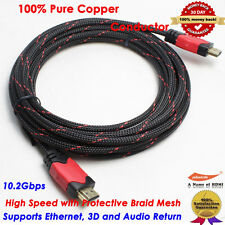 15FT Braided HDMI Cable High Speed Premium v1.4 1080P Male HDTV PS4 DVD LCD xBox