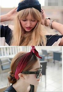 Women Retro Party Velvet 60' 70' 80' bunny ears Hair Head band scarf wrap tie