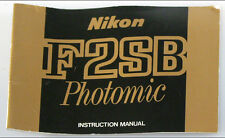 NIKON F2SB PHOTOMIC MANUAL-REPRINT
