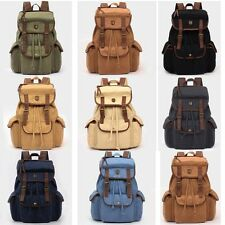 Unisex Women Men's Vintage Canvas Leather Satchel Laptop Rucksack Backpack Bags