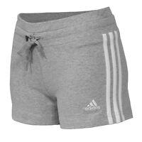 Adidas Essential Ladies 3S Knit Short Fitness Shorts Trackies Run hort grey