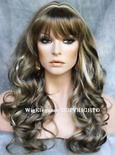 Stunning Long Wavy Curly ASH Brown Champagne Blonde mix Wig WACA 18-22 hairpiece