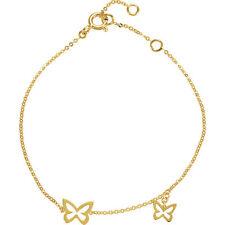 "14k Yellow Gold Two Open Butterfly Design Link Bracelet 7"" Inch"