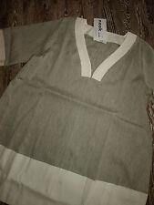 NOOK Lagenlook Leinen Tunika- Kleid in hell-olive-weiß G4 Neu