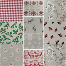 NEW Designer Vintage CHRISTMAS Linen Look Print Designs Craft Upholstery Fabric