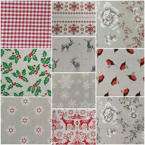 NEW Designer Vintage CHRISTMAS Linen Look Print Designs Craft Upholstery Fabric