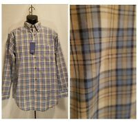 New Roundtree & Yorke Men's Size M Medium Blue Beige Plaid Long Sleeve Shirt $49