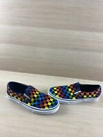VANS Slip On Multicolor Checkered Canvas Low Top Shoes Men's Size 7  Women's 8.5