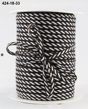 """1/8"""" Solid/Diagonal Stripes Ribbon - May Arts - 424-18-33 Brown - 5 Yds."""