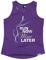 Run Now Wine Later WOMENS DRY FIT VEST birthday gift gym fashion running runner